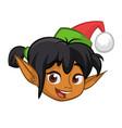 cartoon christmas girl elf head vector image