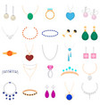 cartoon color different type jewelry set vector image vector image