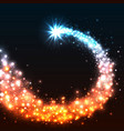 colorful shining star magic star with dust tail vector image