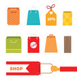 colorful shopping bag set perfect for web page or vector image vector image
