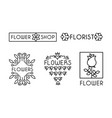flower shop logo set design elements can be used vector image vector image