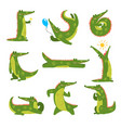 friendly crocodile in different poses set funny vector image vector image