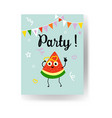 fruit summertime party poster with ripe watermelon vector image vector image