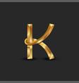 golden 3d letter k logo monogram creative vector image