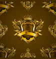 golden royal shield with floral elements vector image