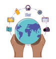 hand with globe world and social media set icons vector image vector image