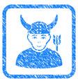 horned warrior framed stamp vector image vector image