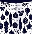 Ink hand drawn Christmas decoration set vector image