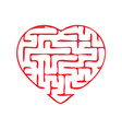 labyrinth heart simple flat isolated on white vector image