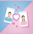 love couple in mobile phone - valentines day vector image