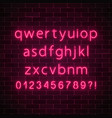 neon style font glowing red neon alphabet with vector image vector image