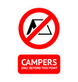 no camping trendy sticker ready to print vector image vector image
