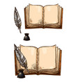 old books and ink quill feather pens vector image vector image
