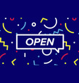 open trendy box with text open and linear drawing vector image