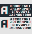 pixel video game font retro 8-bit letters and vector image