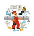 plumbing service flat poster of plumber vector image vector image