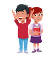 school kids friends cartoon vector image