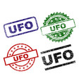 scratched textured ufo seal stamps vector image