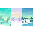 set three winter vertical background cartoon vector image