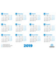 simple calendar for 2019 year design print vector image vector image