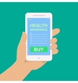 smartphone with a form of health insurance vector image vector image