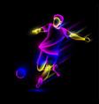 soccer player hits soccer ball vector image