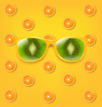 sunglasses with kiwi and yellow background vector image vector image
