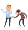 thief steals purse from hapless guy character icon vector image vector image