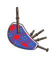 traditional scotland checkered loud bagpipes vector image