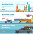 travel banners globe adventure transport vector image vector image
