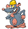 Hand-drawn of an Happy Smiling Rat with yellow vector image