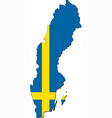 Map of Sweden with national flag vector image