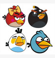 angr bird and happy bird vector image vector image