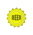 Beer bottle cap icon in cartoon style vector image vector image