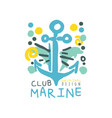 blue and yellow creative marine theme vector image vector image