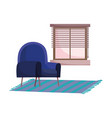 blue chair carpet and window interior isolated vector image vector image