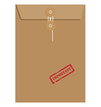 Brown long envelope with stamp important vector image vector image