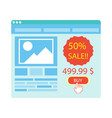 buy button on blue website purchase with 50 vector image vector image