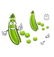 Cartoon green pea pod vegetable vector image vector image