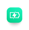 charging battery icon sign on green shape vector image