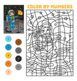 color number for children astronaut vector image vector image