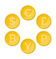 currency flat icon set golden coins vector image