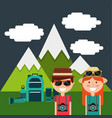 cute couple tourists vacation mountains backpack vector image vector image