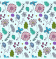 doodle blue floral pattern with colorful flowers vector image vector image