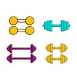 dumbbell icon set color outline style vector image