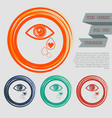 eye tears icon on the red blue green orange vector image