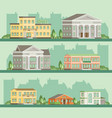 flat buildings hotel restaurant bank museum home vector image vector image