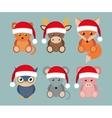 funny animals in Santa hats vector image vector image