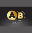 gold and black ab a b letters logo with circle