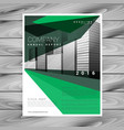 green brochure design with abstract geometric vector image